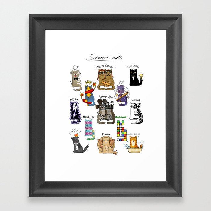 Science cats. History of great discoveries. Physics, chemistry etc Gerahmter Kunstdruck