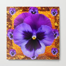PURPLE COLORED SPRING PANSY DESIGN Metal Print
