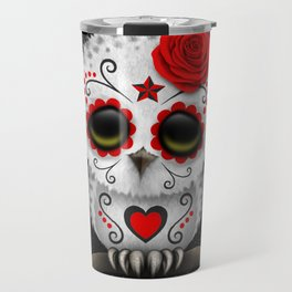 Adorable Red Day of the Dead Sugar Skull Owl Travel Mug