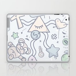 Cartoon Doodle All seeing eye. Background. Laptop & iPad Skin