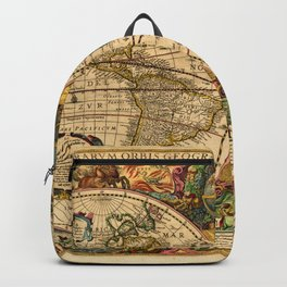 1663 Orbis Geographica Old World Map by Henri Hondius Backpack