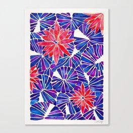 Water Lilies – Indigo & Red Palette Canvas Print