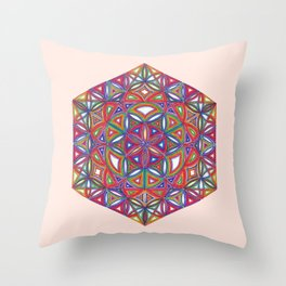 Flower of Life Sacred Geometry Star Cube Throw Pillow