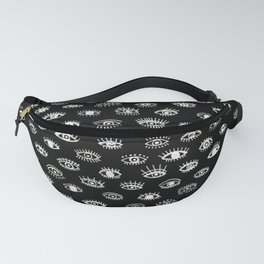 Lucky Eyes, White on Black Fanny Pack