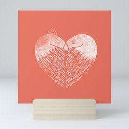 Love birds sitting on a tree Mini Art Print