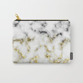 Black and white marble gold sparkle flakes Carry-All Pouch