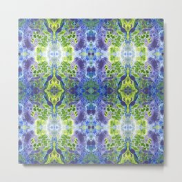 Psycho - Green, White, Purple, Green Abstract Pattern by annmariescreations Metal Print