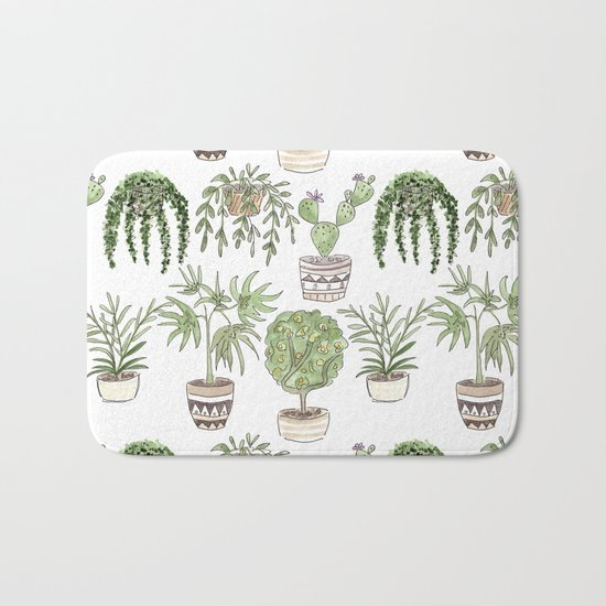 Watercolor cartoon sketch house plants in pots Bath Mat