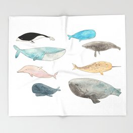 Group of whales Throw Blanket