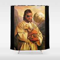 venom Shower Curtains featuring Venom Jesus Snake - parody by franz