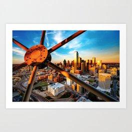 Downtown Dallas Texas Skyline Through Reunion Tower Art Print