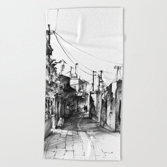 Rhodes backalley Beach Towel