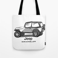 jeep Tote Bags featuring Jeep by Mister Abigail