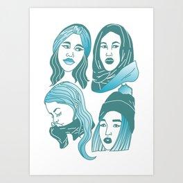 Winter Girls Art Print