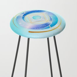 Icy Golden Winter Swirl :: Floating Geometry Counter Stool