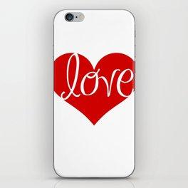 red heart love iPhone Skin