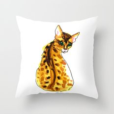 bengal kitten Throw Pillow