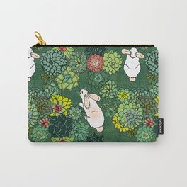 Rabbits in a Succulent Garden Carry-All Pouch
