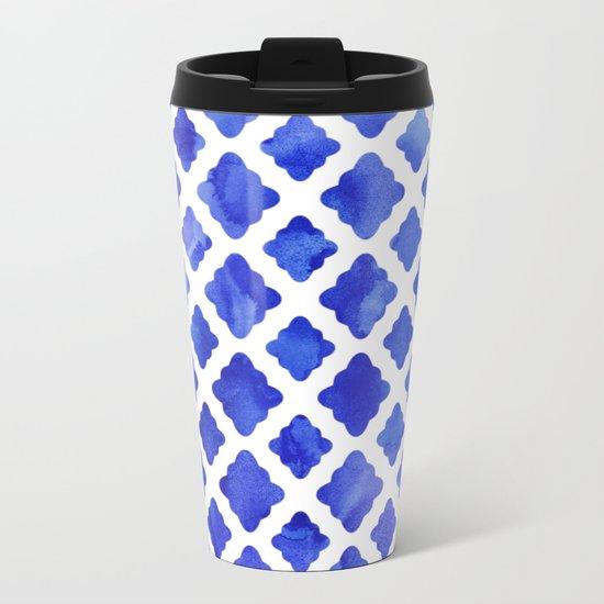 Watercolor Diamonds in Cobalt Blue Metal Travel Mug