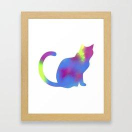 Rainbow Paint Kitty Framed Art Print