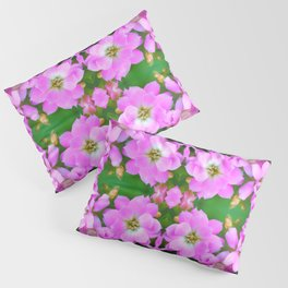 Fresh pink Kalanchoe flowers surreal shaped symmetrical kaleidoscope Pillow Sham