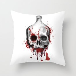 Alcohol bottle in death skull. Throw Pillow