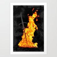 dark souls Art Prints featuring Bonfire ( Dark Souls II ) by Renars