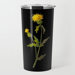 Centaurea Amberboi  Mary Delany Delicate Paper Flower Collage Black Background Floral Botanical Travel Mug