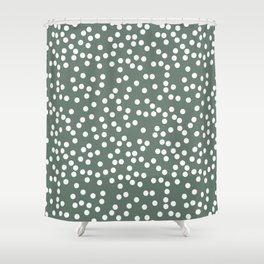 Dark Gray Green and White Polka Dot Pattern Shower Curtain