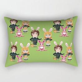 Children with basket of Easter eggs Rectangular Pillow