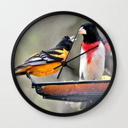 Food Fight: Oriole and Grosbeak Wall Clock
