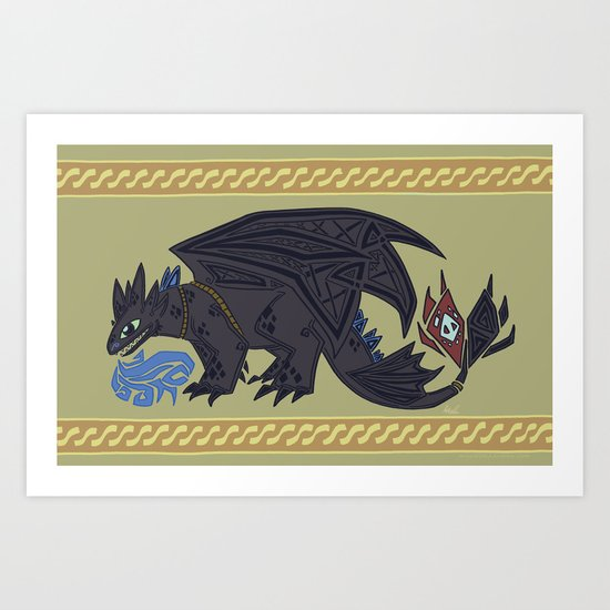 Viking Design Toothless Art Print