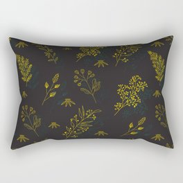 Thin delicate lines silhouettes of different plants. Rectangular Pillow