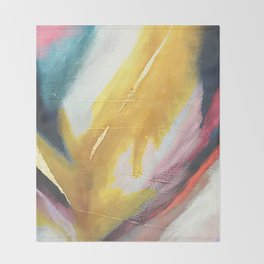 Ambition: a colorful abstract piece in bold yellow, blue, pink, red, and gold Throw Blanket