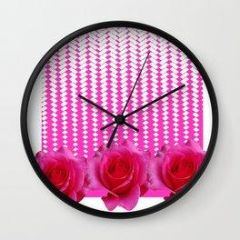 MODERN ART FUCHSIA PINK ROSE PATTERN Wall Clock