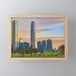 Bicentenario Park and Sanhattan Cityscape – Santiago de Chile Framed Mini Art Print