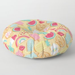 Epic pool floats top view // sand background Floor Pillow