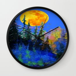 FULL MOON OVER BLUE MOUNTAIN FOREST DESIGN Wall Clock
