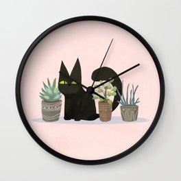 Kiwi the black cat with three succulents Wall Clock