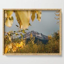 Mt. Hood Through The Leaves Serving Tray