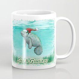 "Seas and Greetings ~ ""Mossy Manatee"" by Amber Marine ~ Watercolor ~ (Copyright 2016) Coffee Mug"