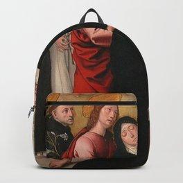 Juan de Borgoña - The Virgin, Saint Dominic de Guzman, Saint John the Evangelist Backpack