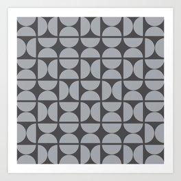 Scandinavian Half Circles (Dove Gray, Charcoal Black) Art Print