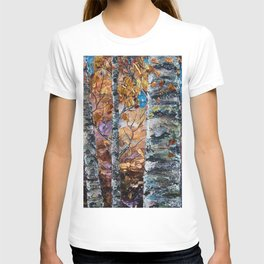 Birch Trees with Palette Knife by OLena Art for @society6 T-shirt