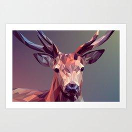 Abstract geometric deer art Art Print