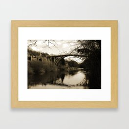 Worlds First Ironbridge over River Severn in England in sepia Framed Art Print