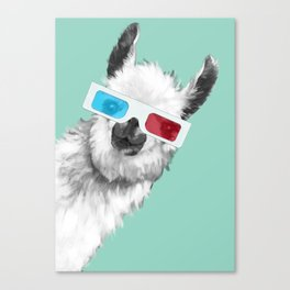 Sneaky Llama with 3D Glasses #01 Canvas Print