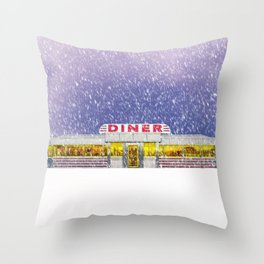American Diner in Snowstorm Throw Pillow