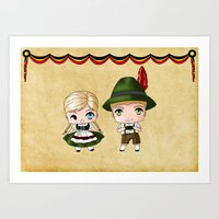 german Art Prints featuring German Chibis by artwaste