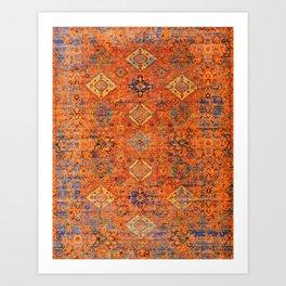 Oriental Vitange Moroccan Rug Design Art Print